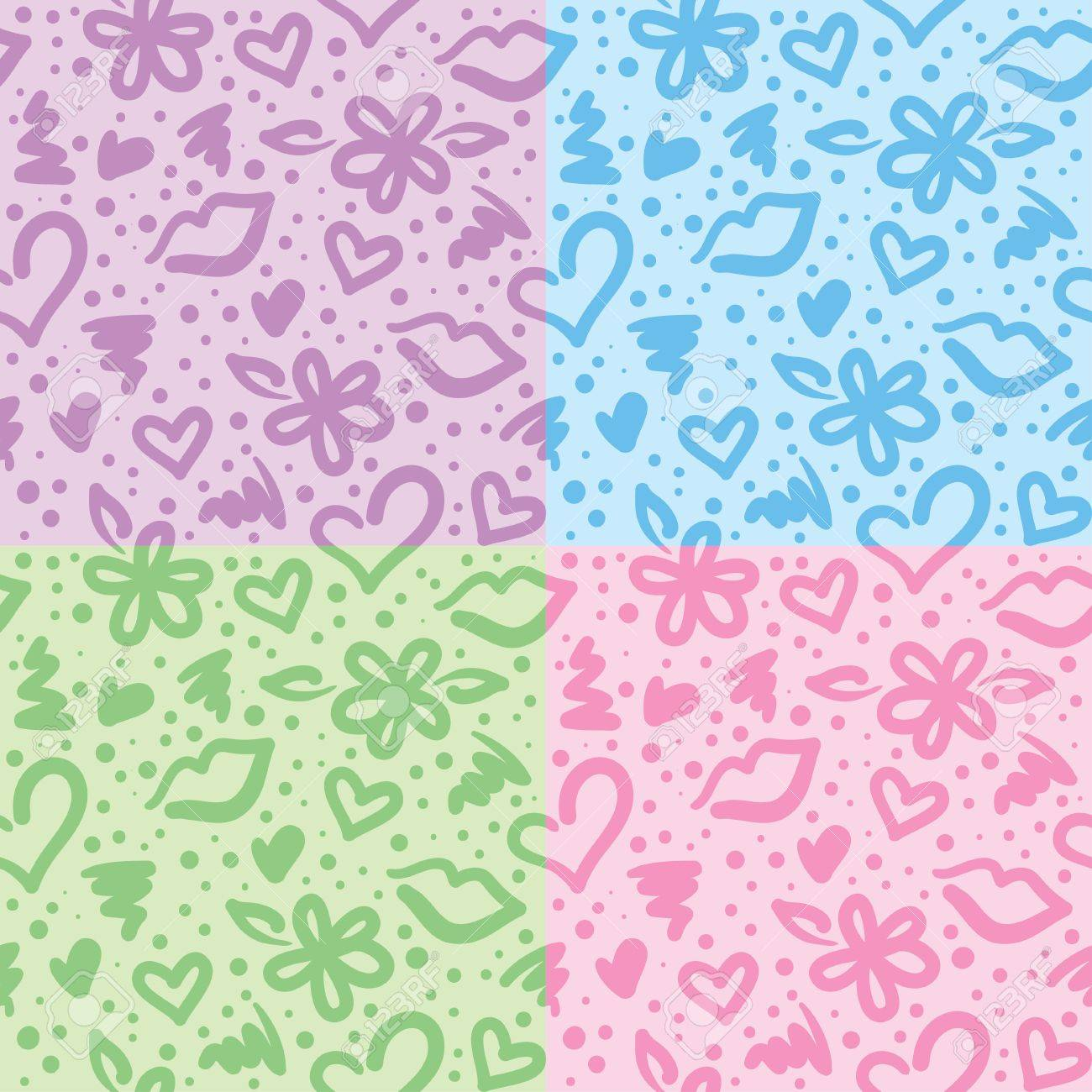 seamless patterns with hearts, flowers and kisses Stock Vector - 12832427