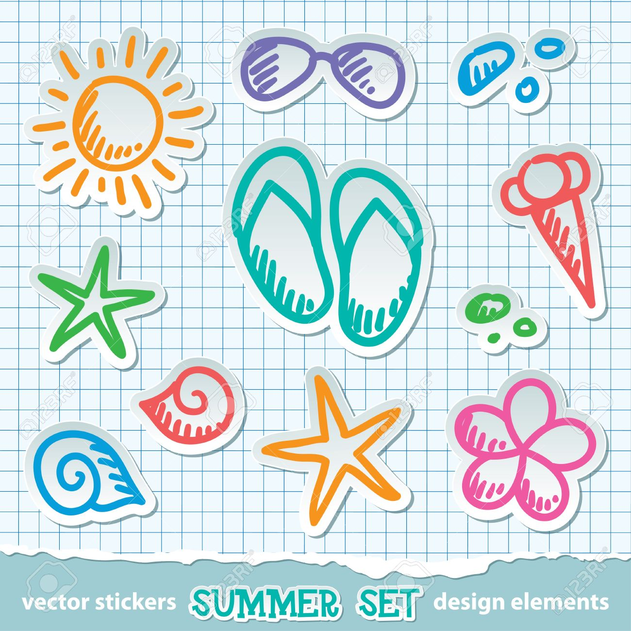 Scrapbook paper beach - Vector Set Of Hand Drawn Summer Symbols On Paper