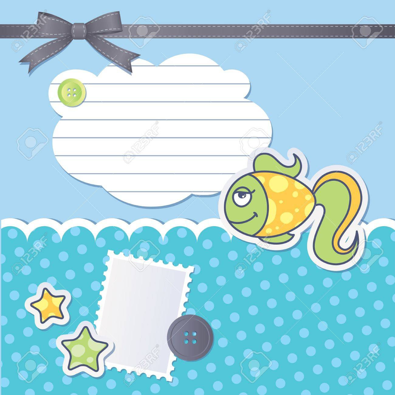 scrapbooking set with cartoon fish, sewing buttons and bow Stock Vector - 13216187