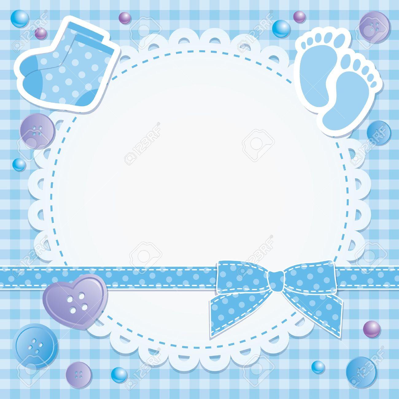 Bebé Marco Con Lazo Azul Y Pegatinas Ilustraciones Vectoriales, Clip ...
