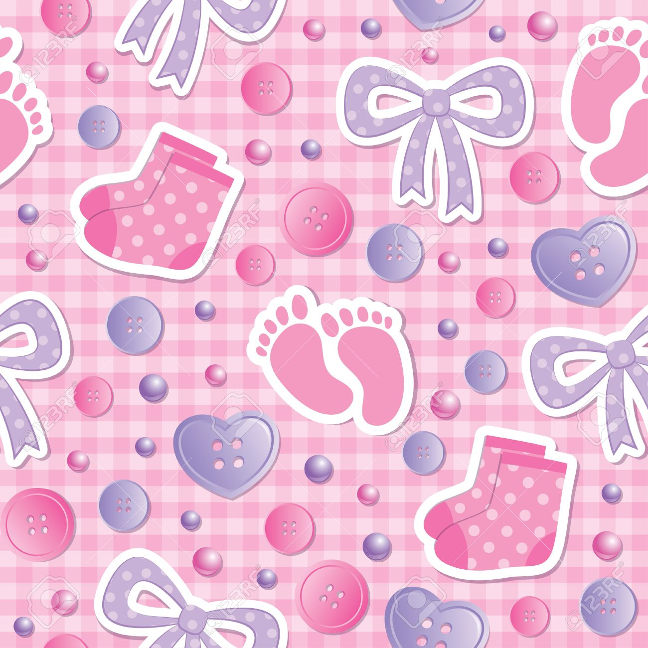 baby seamless pattern with bows and bootees Stock Vector - 13370083