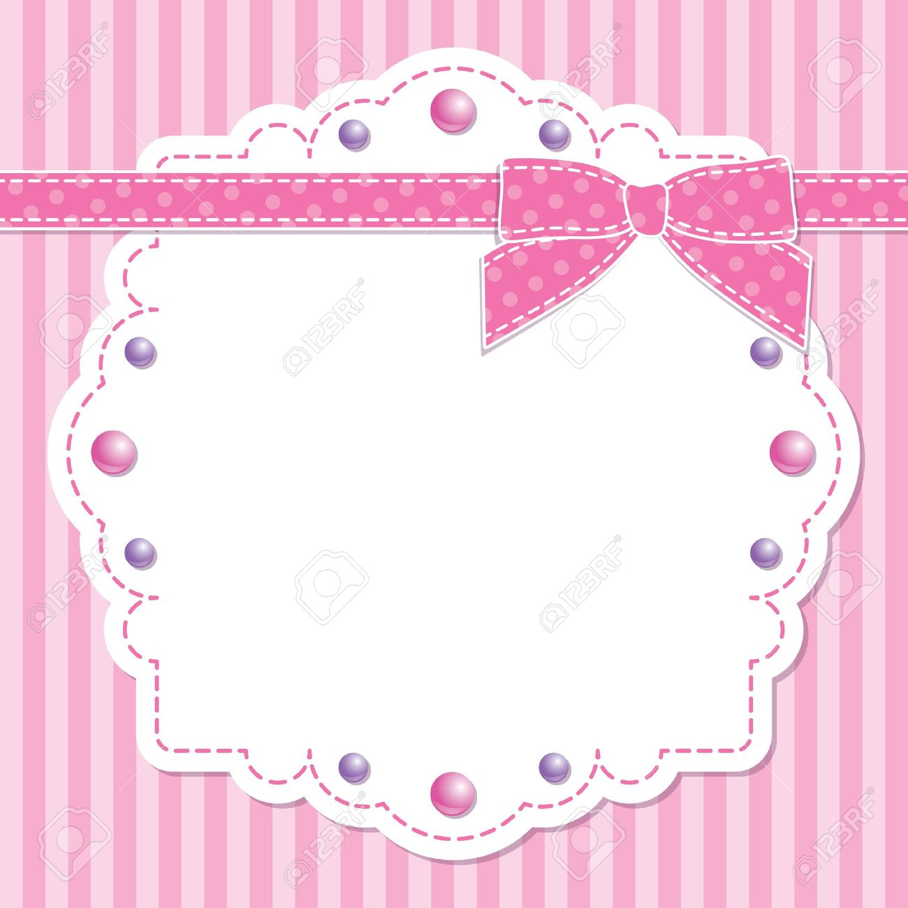 pink frame with bow and beads on striped background Stock Vector - 13826191