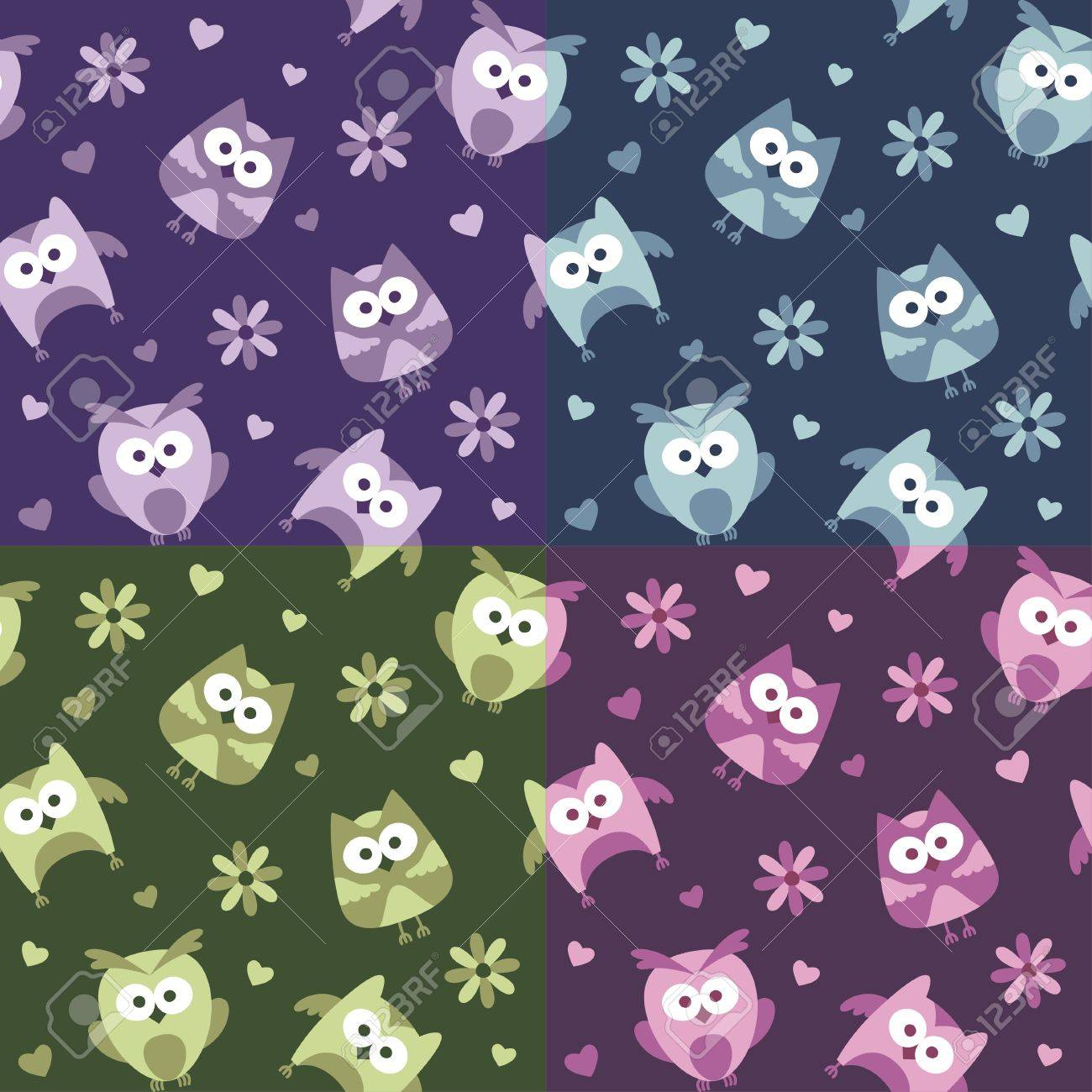 set of seamless patterns with cartoon owls Stock Vector - 14168535