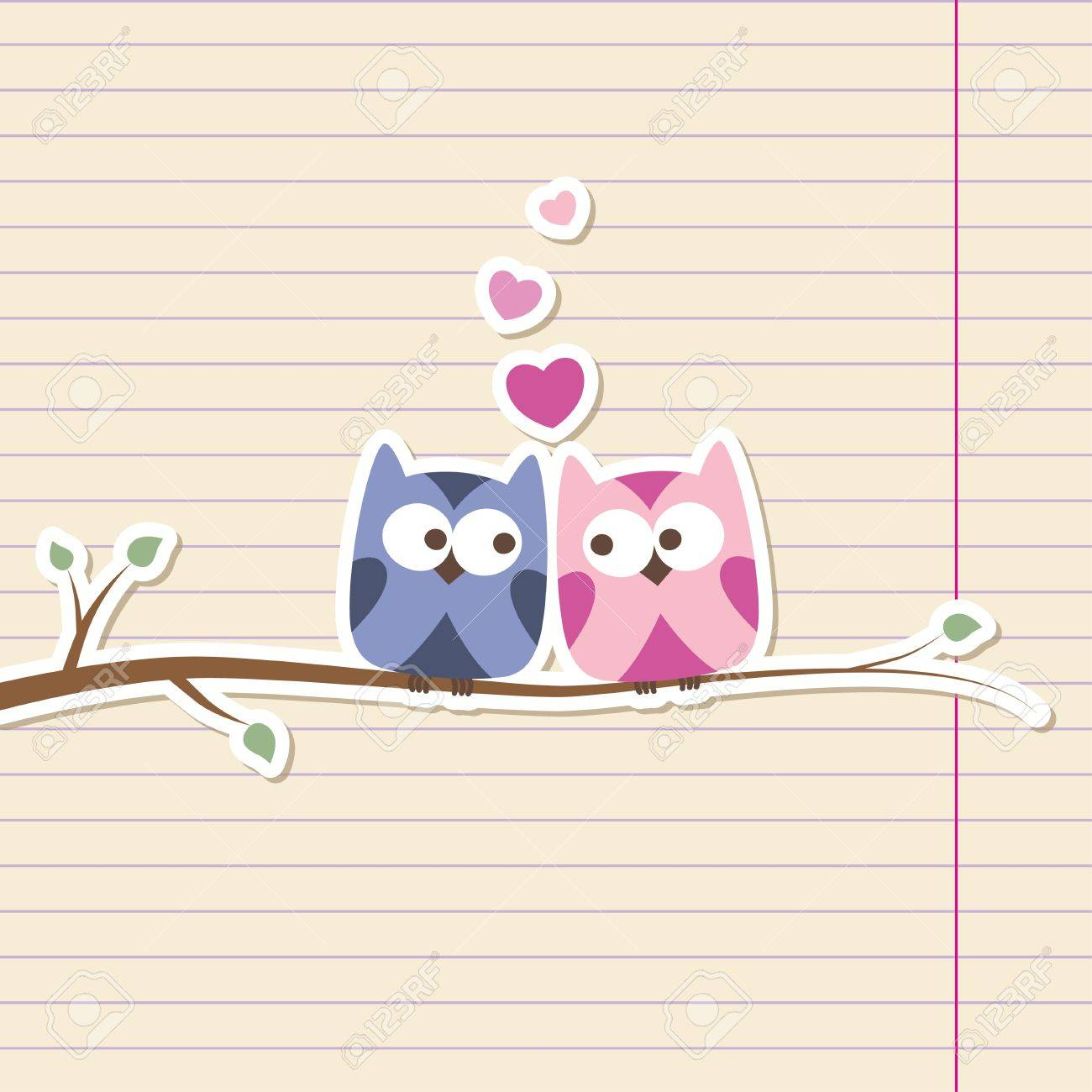 two owls in love, simple romantic illustration Stock Vector - 14168538