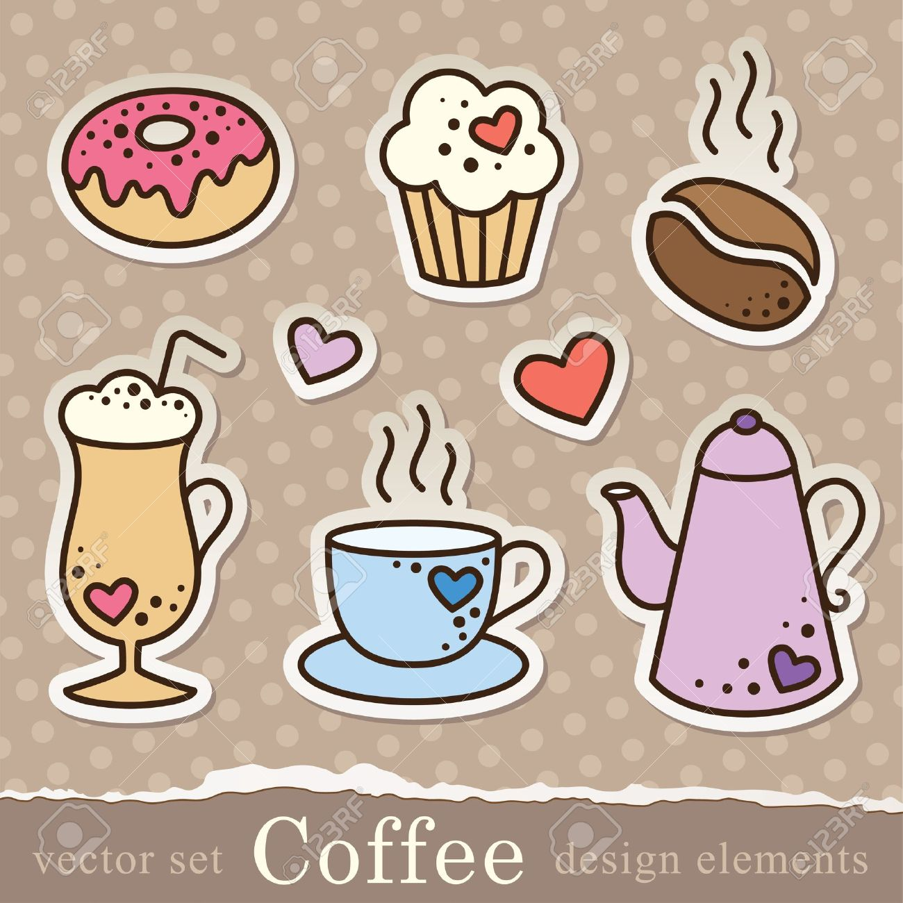 Set of coffee stickers vintage elements for scrapbook design stock vector 14168546