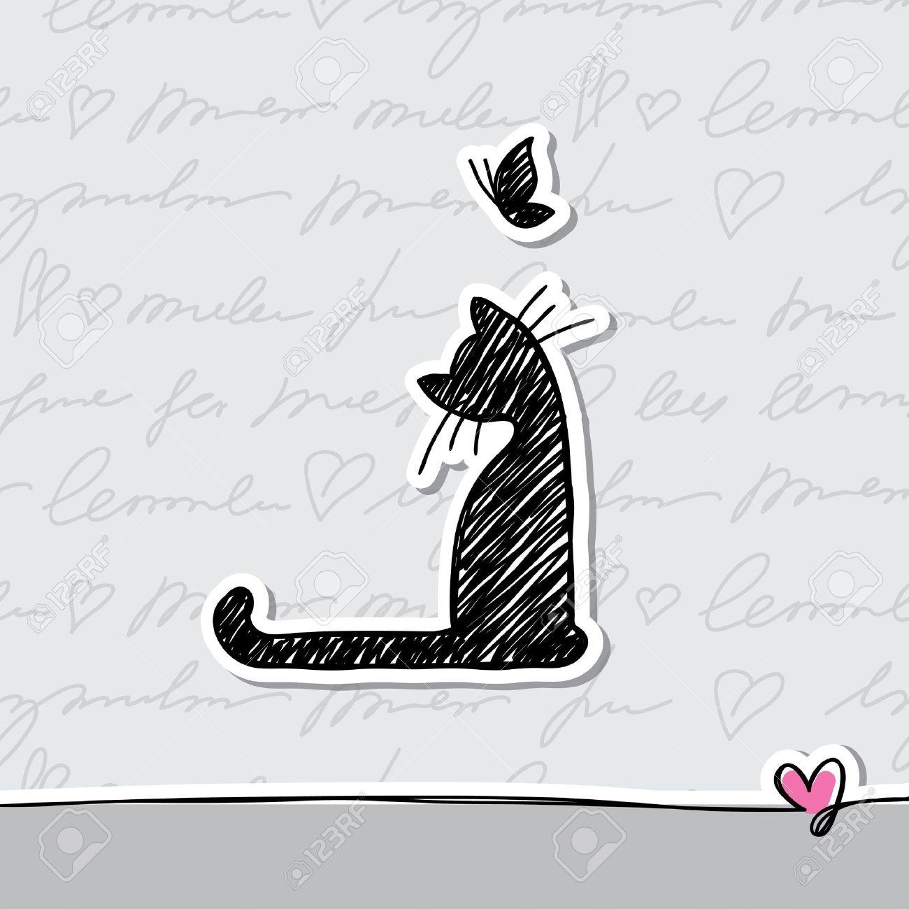 dibujado a mano la tarjeta con el gato y la mariposa Foto de archivo - 14932902
