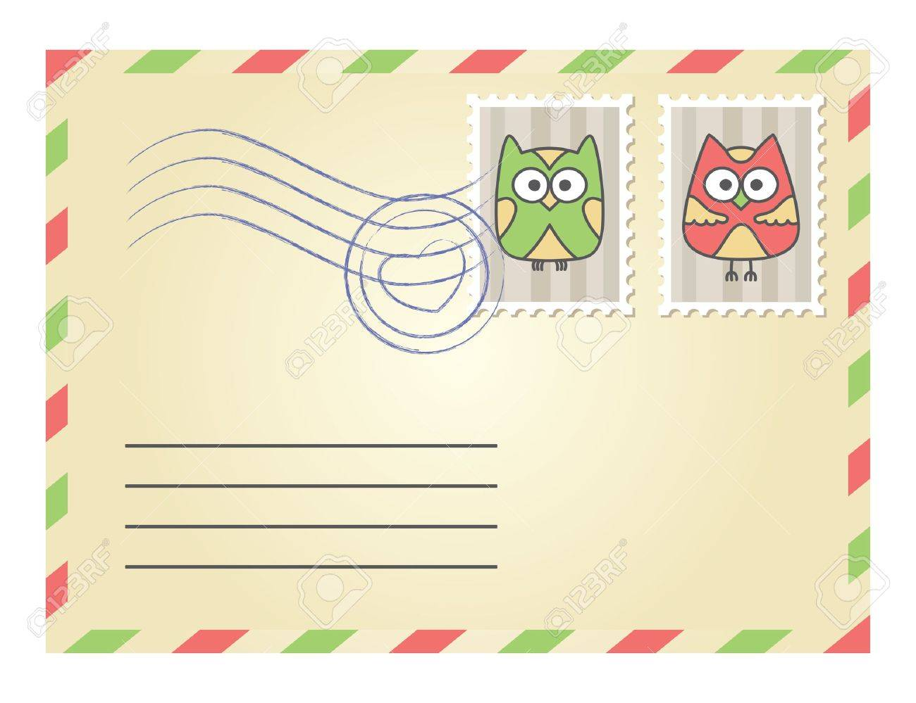 beige envelope with postage stamps on white background Stock Vector - 14976810