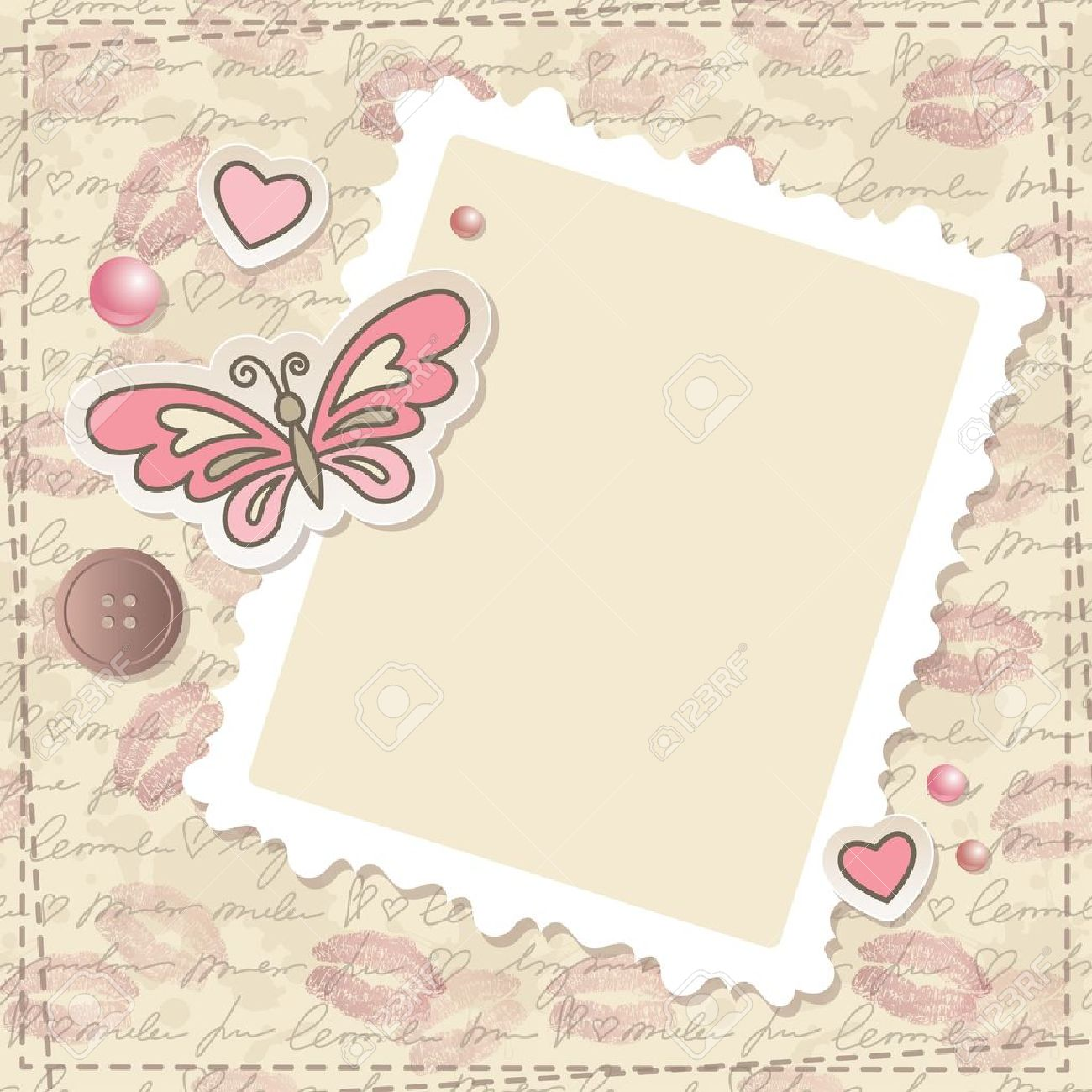 vintage scrapbooking set with butterfly hearts and paper frame
