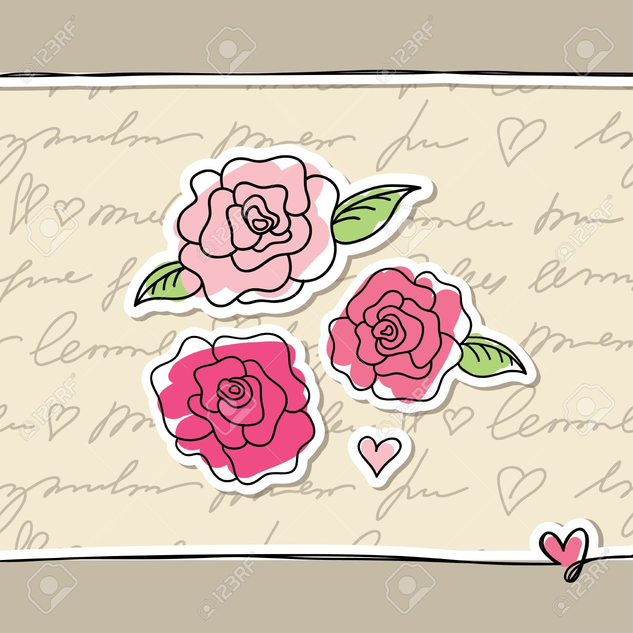 illustration with pink hand drawn roses on paper Stock Vector - 15012736