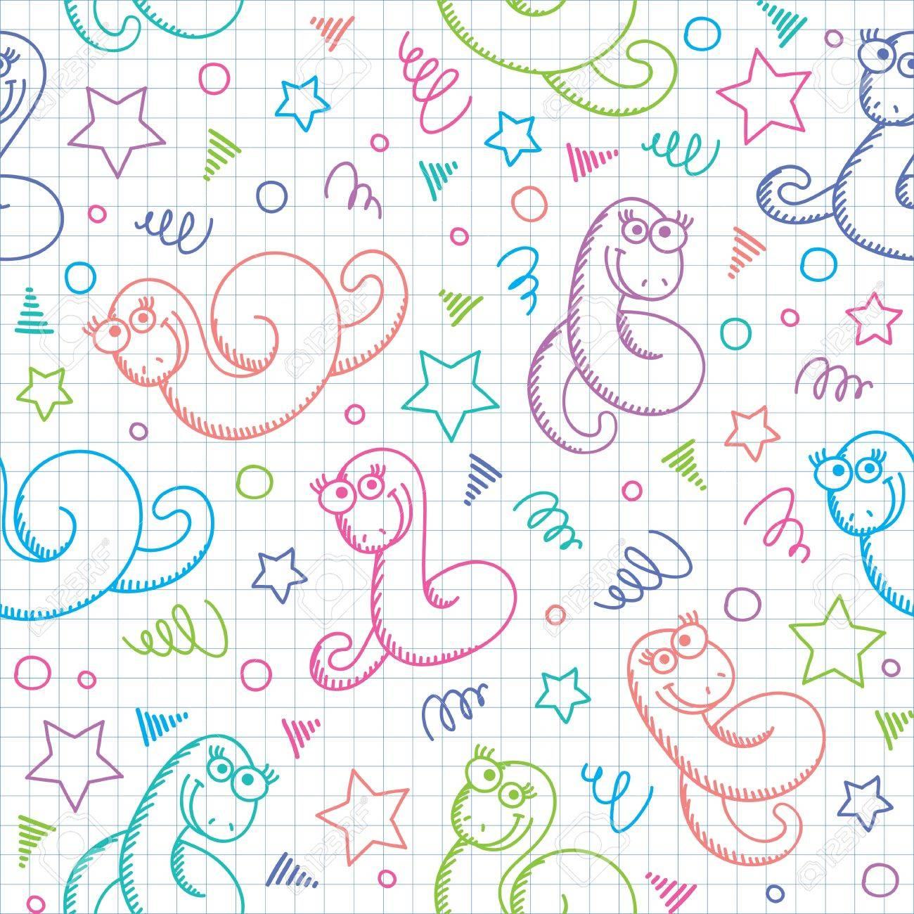Patrón Sin Fisuras Con Las Serpientes Dibujadas A Mano Divertidos ...