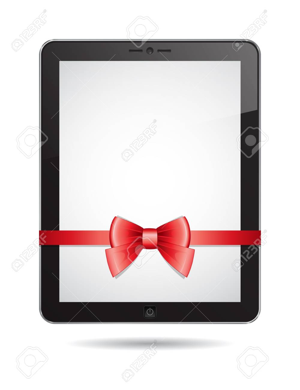 tablet PC with red bow on white background Stock Vector - 16926310