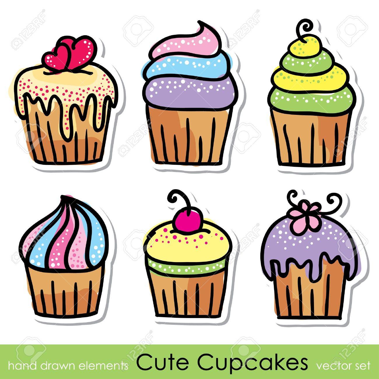 cupcakes set Stock Vector - 18717141