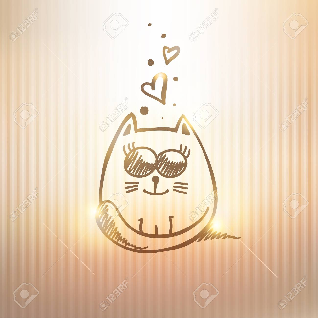 hand drawn card with cat on gold background Stock Vector - 21006247