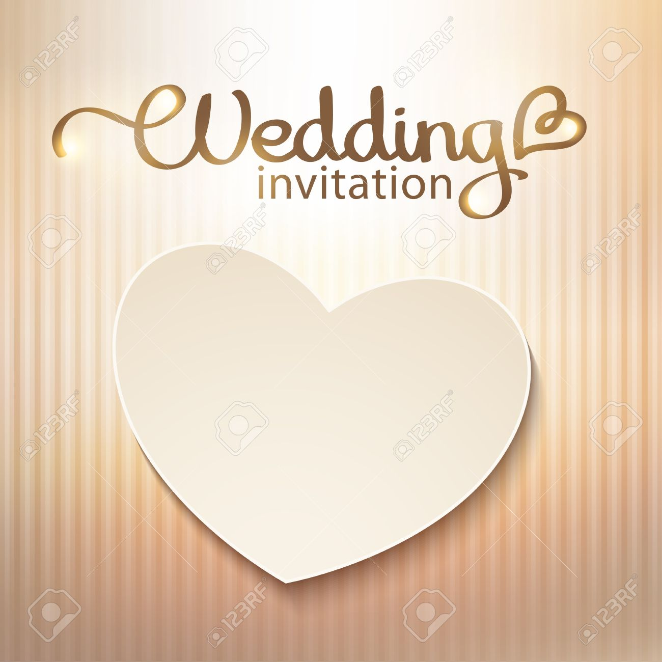 wedding invitation with paper heart and gold background royalty free