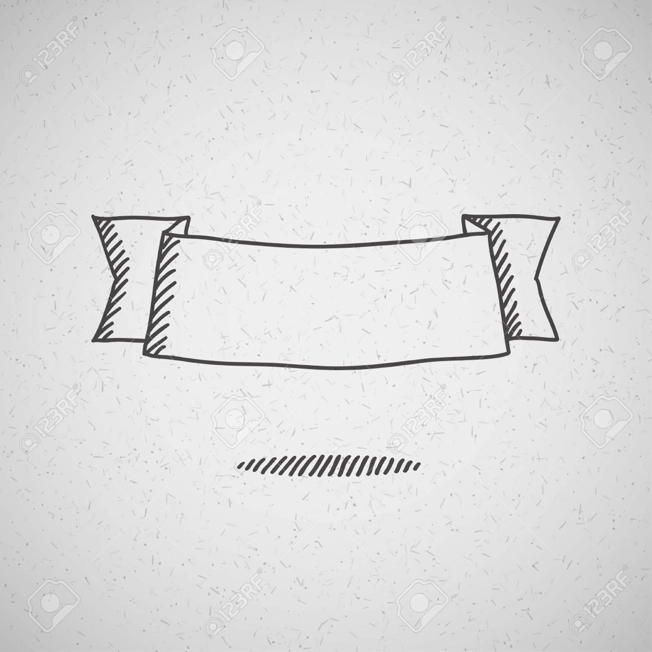 hand drawn ribbon on old cardboard Stock Vector - 21172808