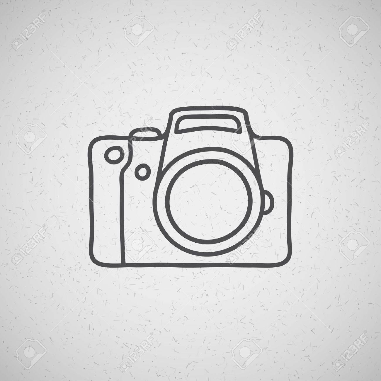 hand drawn photo camera on vintage background - 21172811