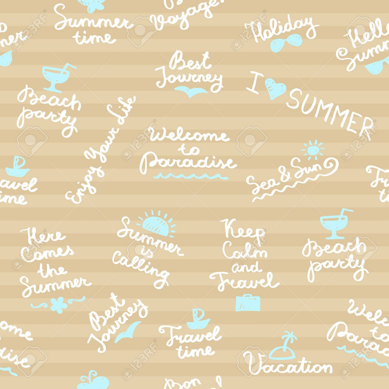 Seamless Pattern With Summer Handwritten Lettering And Symbols