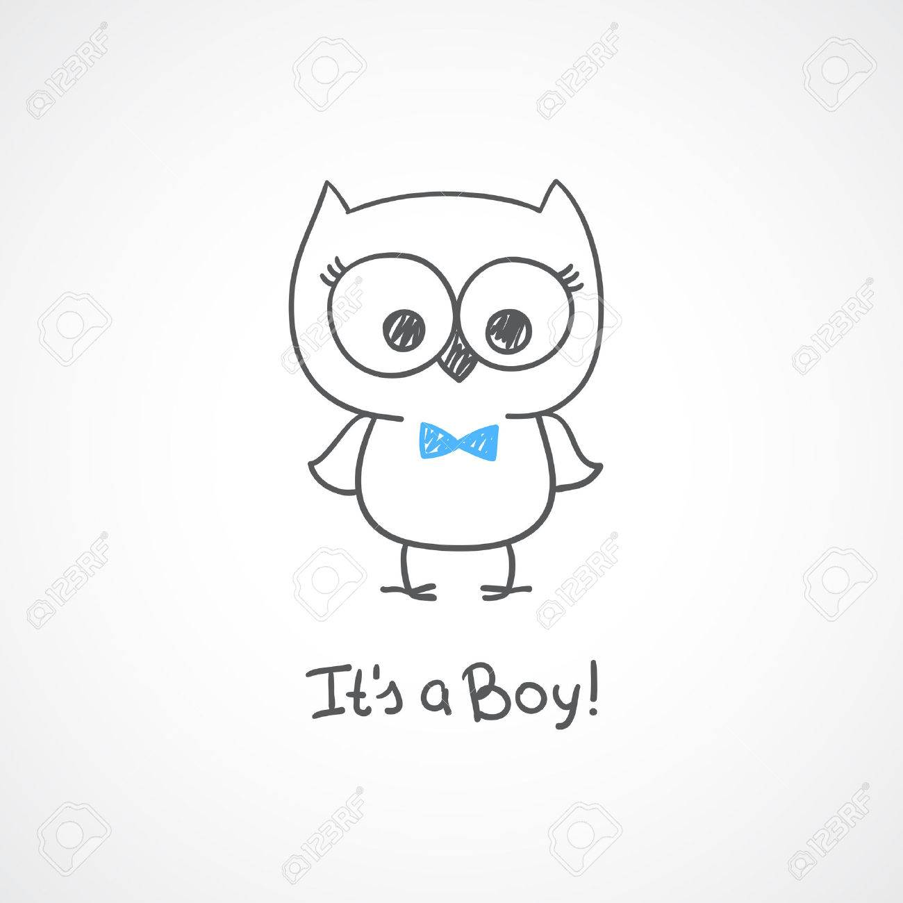vector hand drawn baby owl baby shower card template it s a