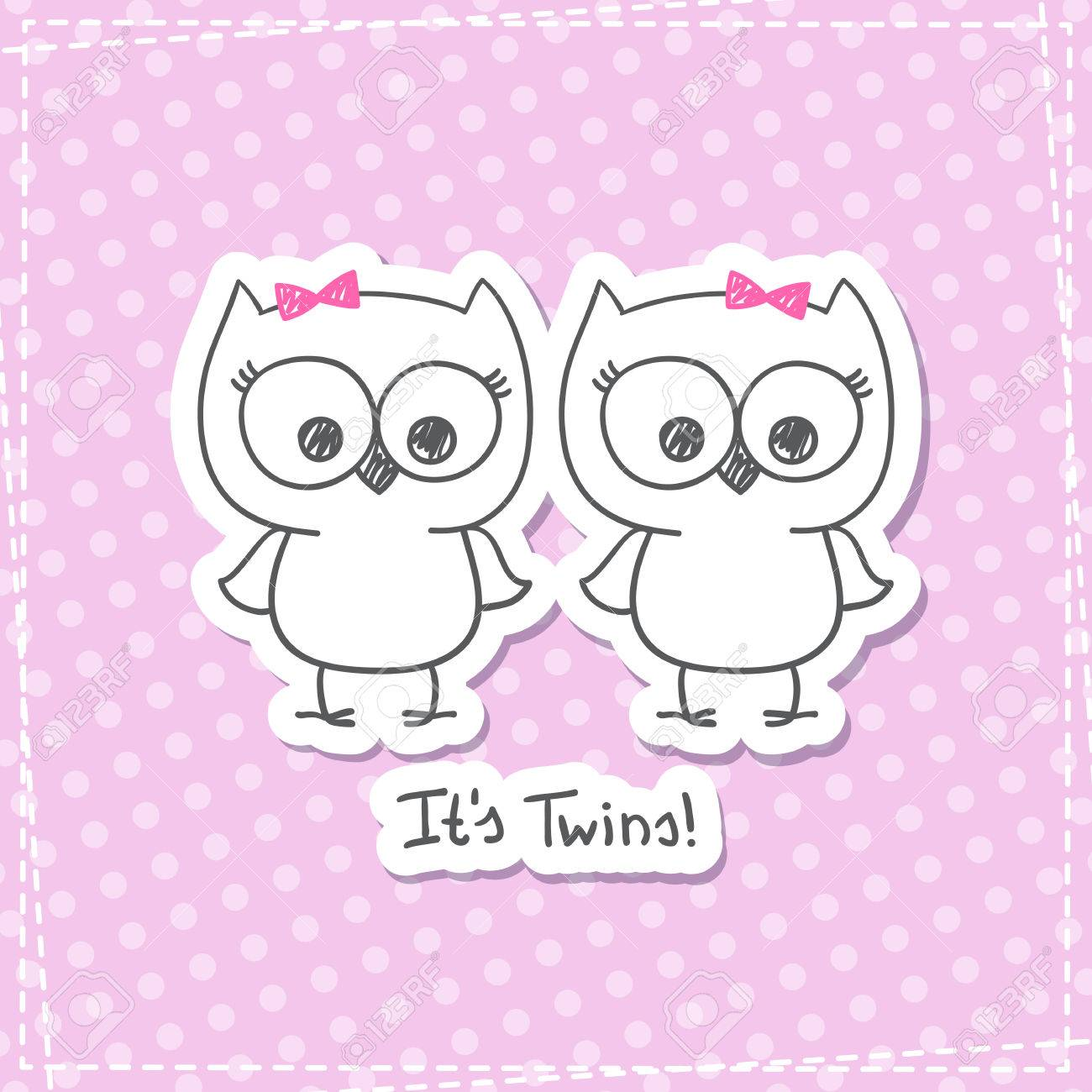 Vector Little Owls Twins, Baby Shower Invitation Template Royalty ...