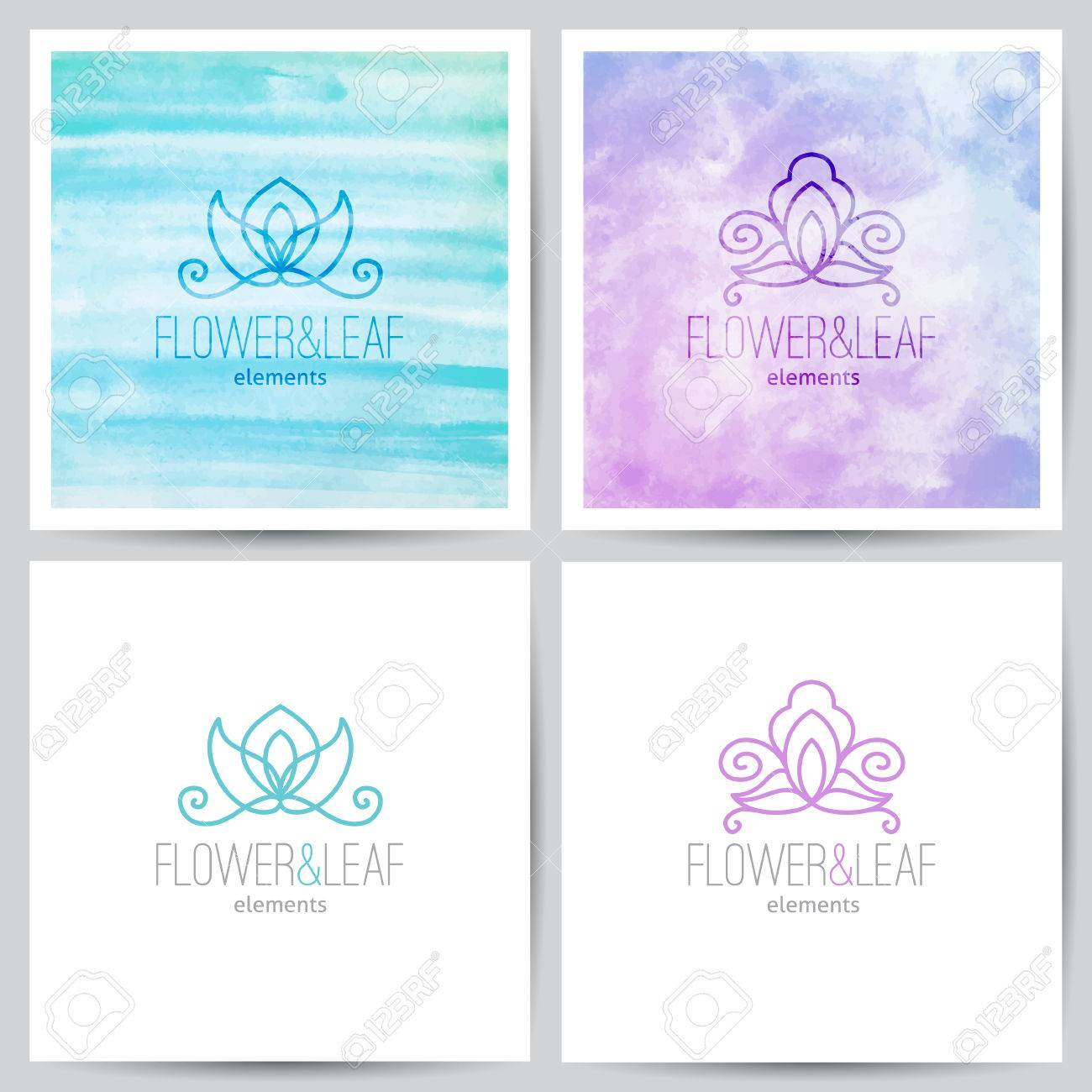 Two Floral Ornamental Logo On Watercolor Backgrounds And On White