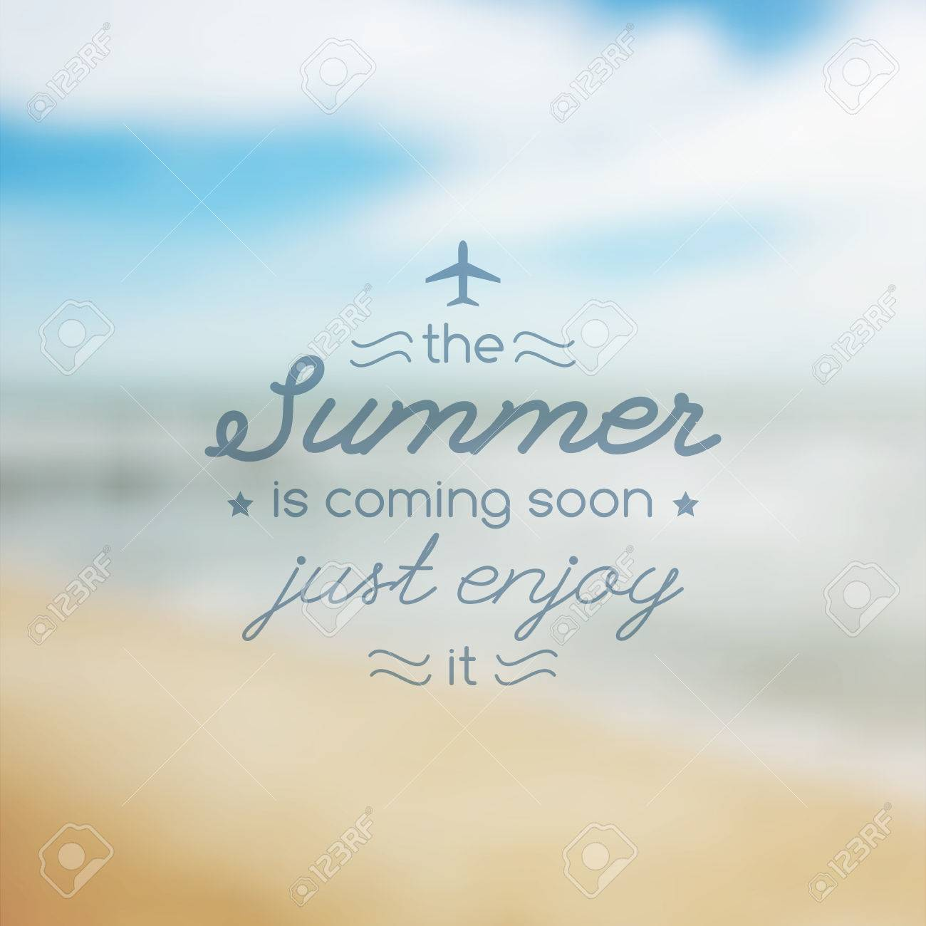 Summer Is Coming Soon, Vector Illustration With Text And Blurred Seascape  For Travel Design Stock