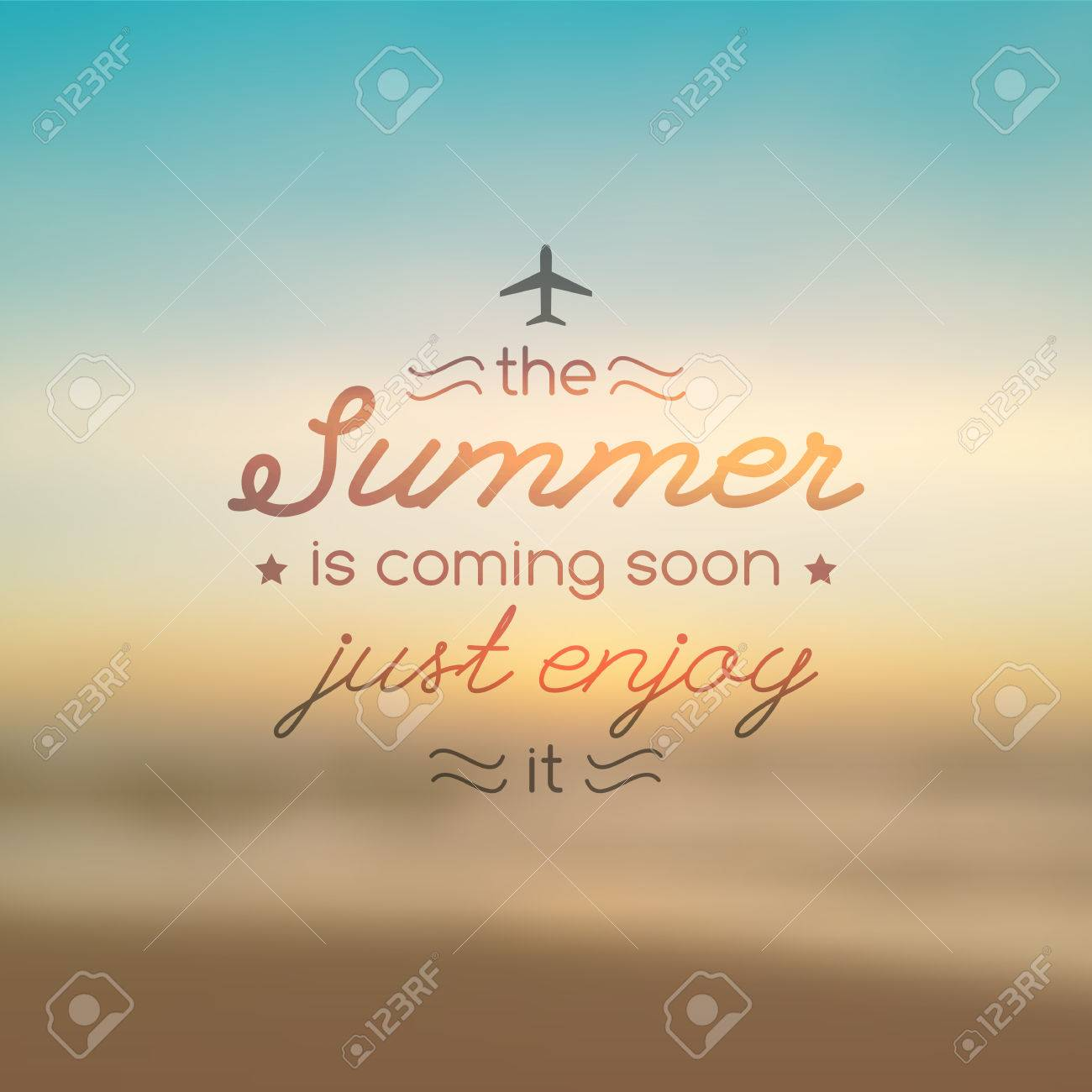 Summer Is Coming Soon, Vector Text On Blurred Background Of Sunrise And Sea,  For