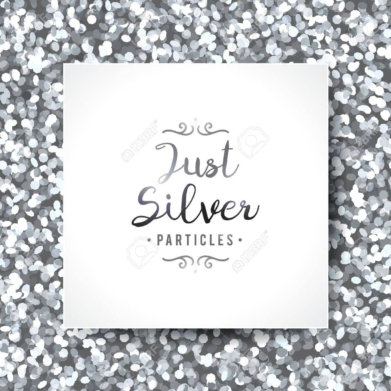 vector sparkles seamless pattern, texture of silver particles and white frame - 55003927