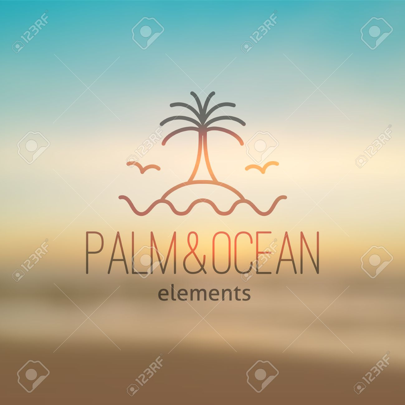 Summer Logo For Travel Agency Or Hotel Palm Waves Island And Seagulls On