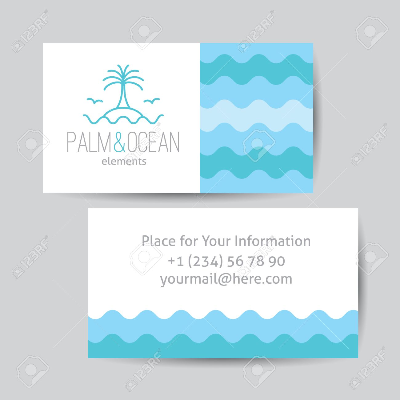 Business Card Template For Travel Agency. Palm, Seagulls, Island ...