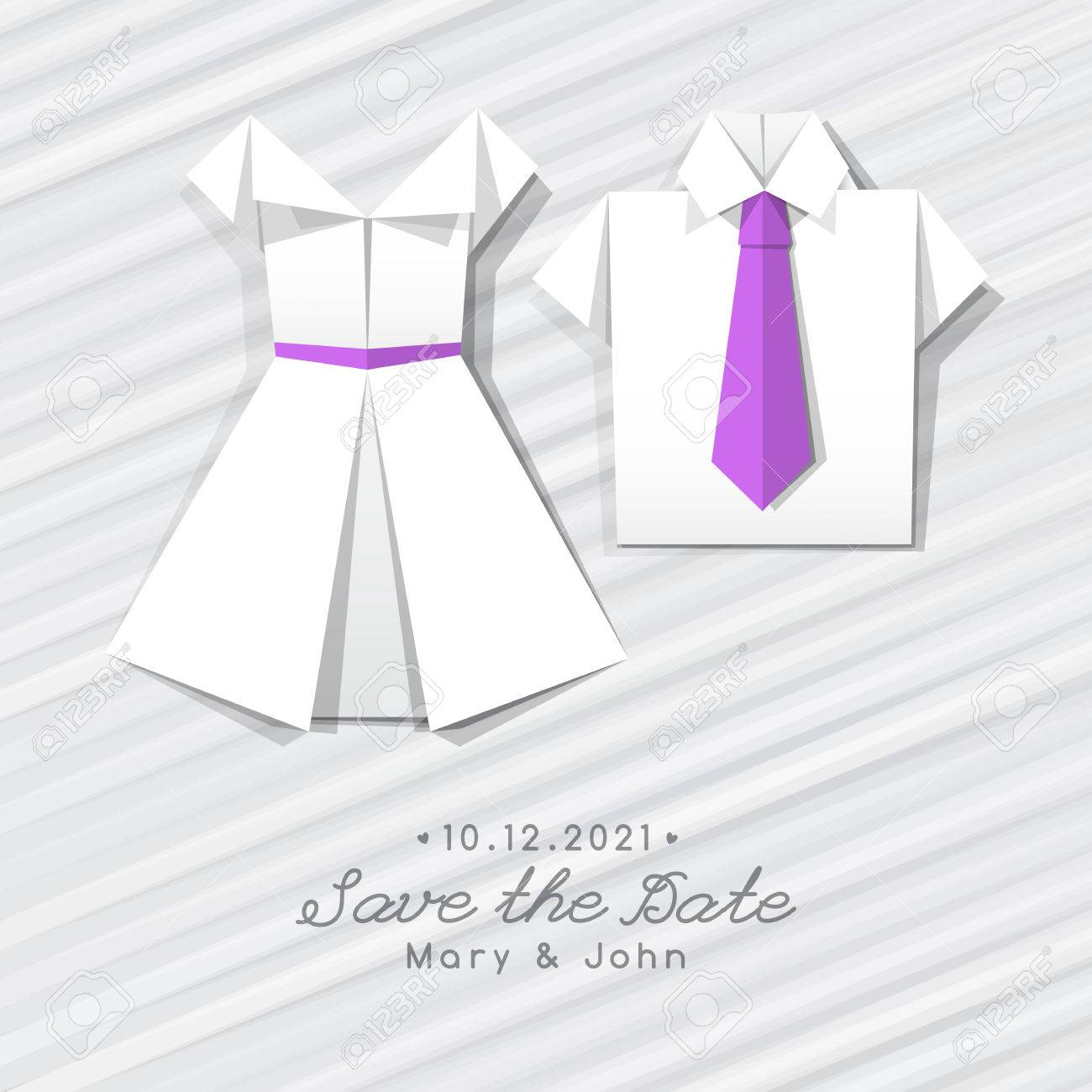 Vector origami dress and shirt wedding invitation template royalty imagens vector origami dress and shirt wedding invitation template stopboris Image collections
