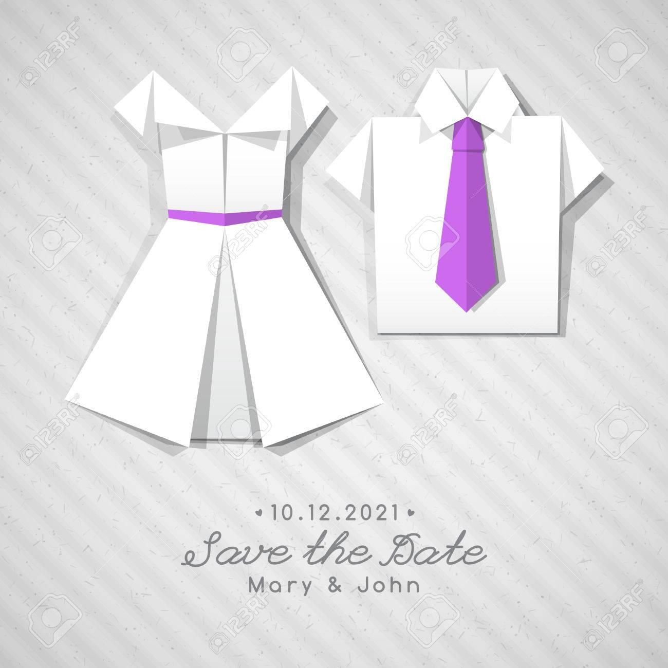 Vector origami dress and shirt wedding invitation template royalty vector vector origami dress and shirt wedding invitation template stopboris Gallery