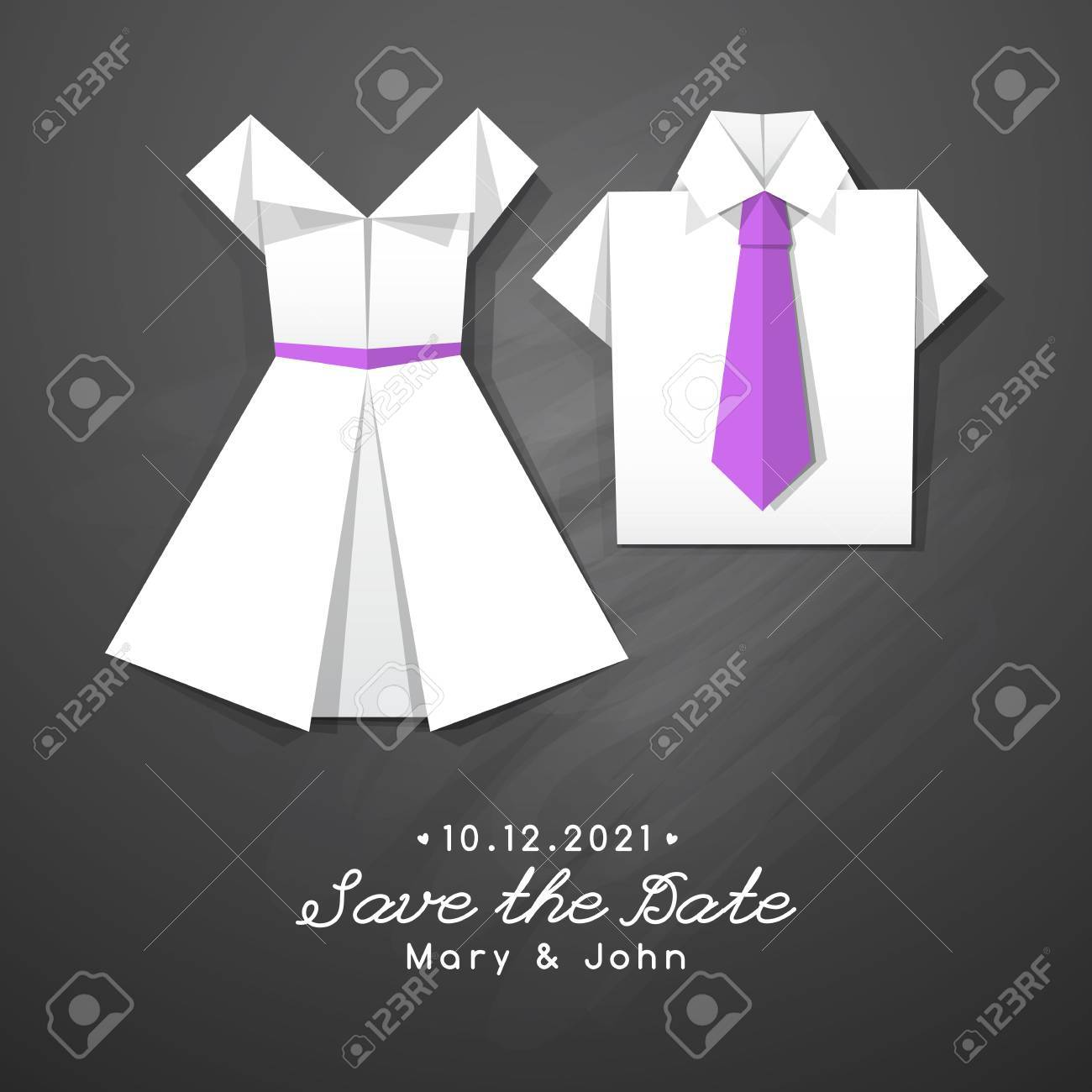 Vector Origami Dress And Shirt, Wedding Invitation Template Royalty ...