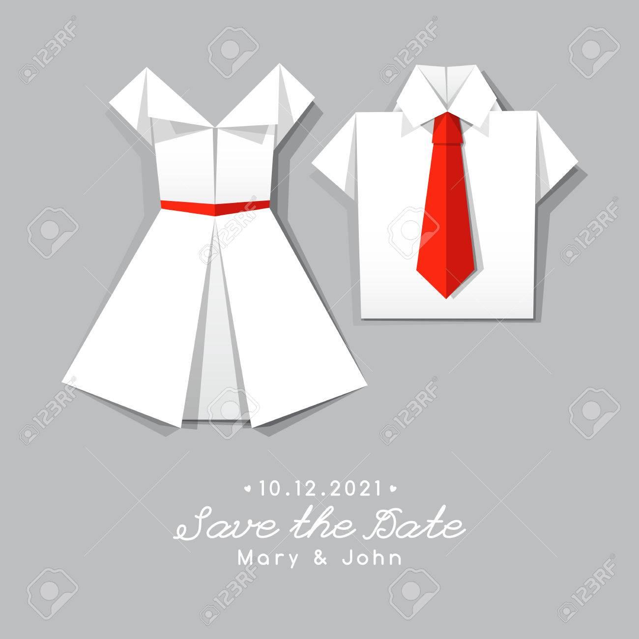 Vestido CamisaPlantilla Boda La De Origami Y Invitación w8mnN0vO