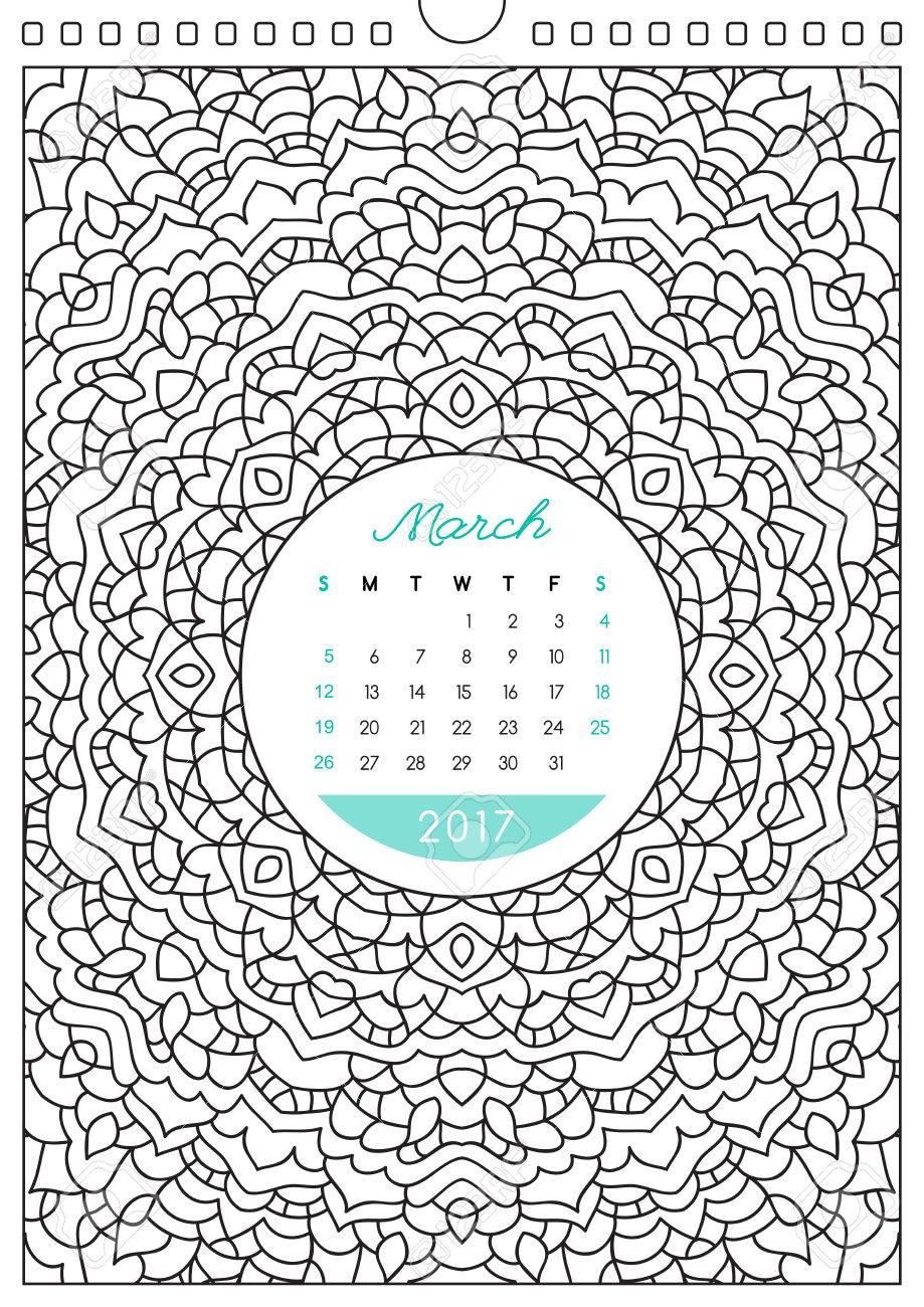 壁掛けカレンダー 17 飾りとぬりえ アンチ ストレスの塗り絵 3 月のイラスト素材 ベクタ Image