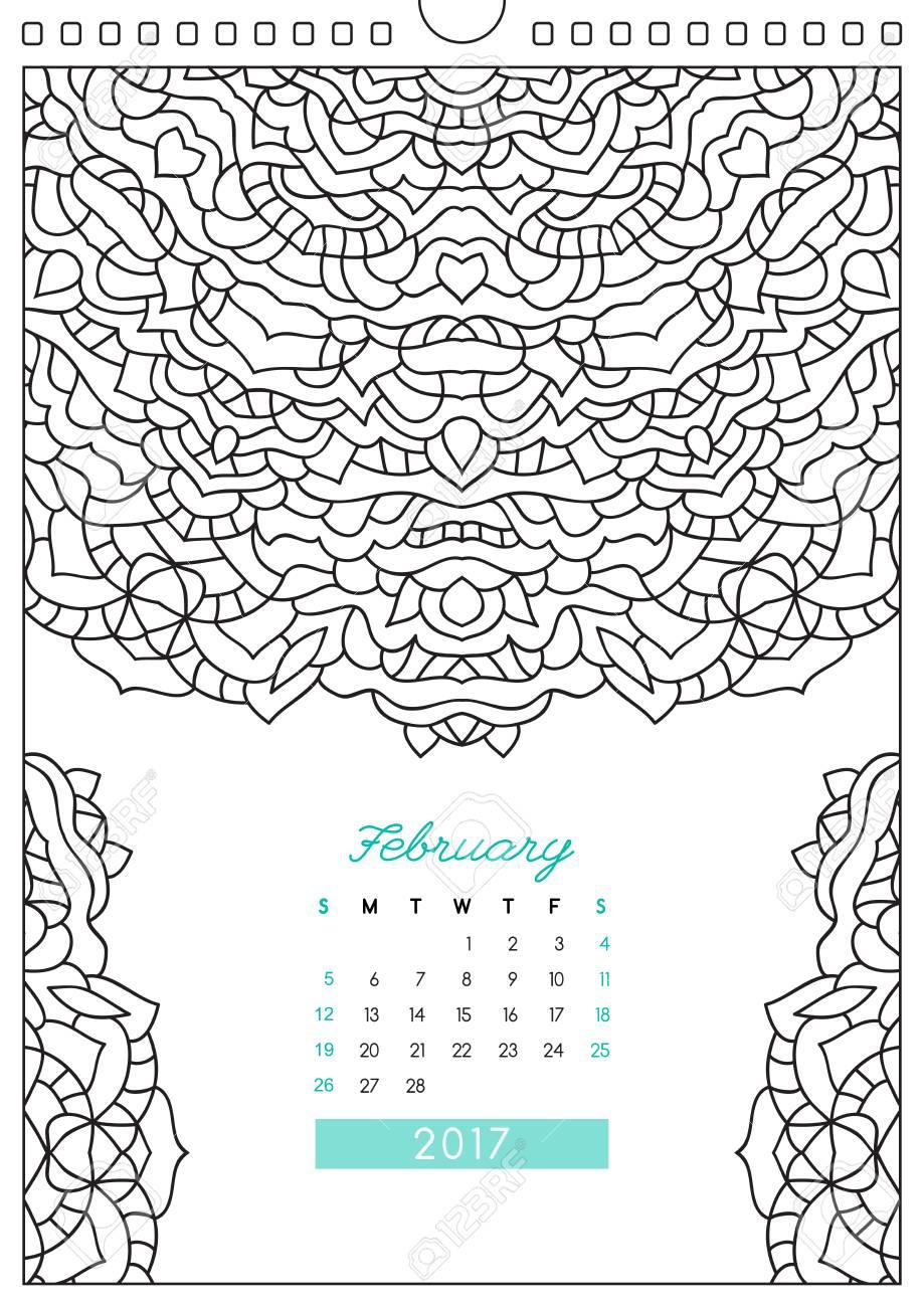 Calendario De Pared 2017 Con El Ornamento Para Colorear Colorear Contra El Estrés Febrero