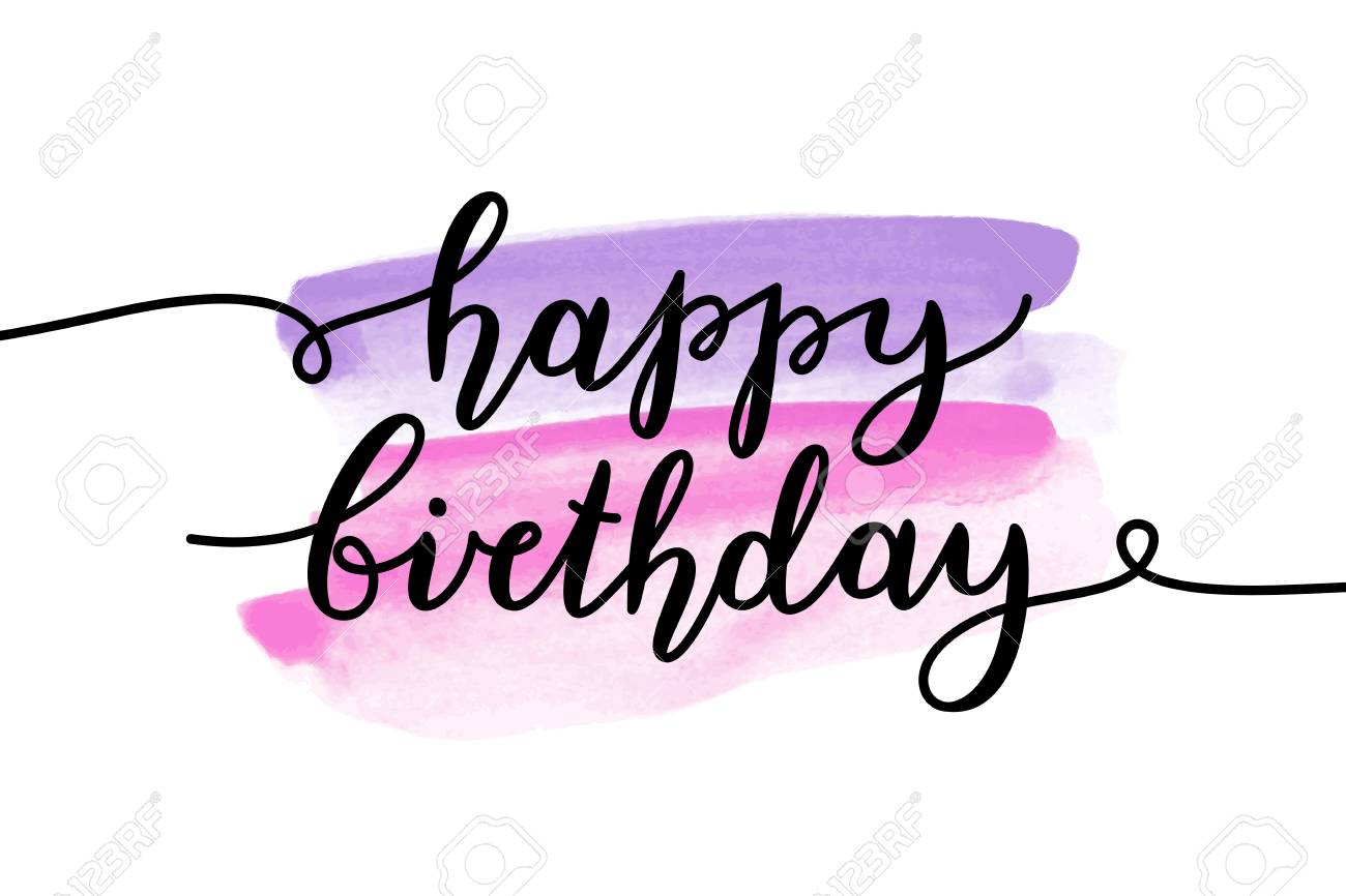 happy birthday vector lettering greeting card template royalty