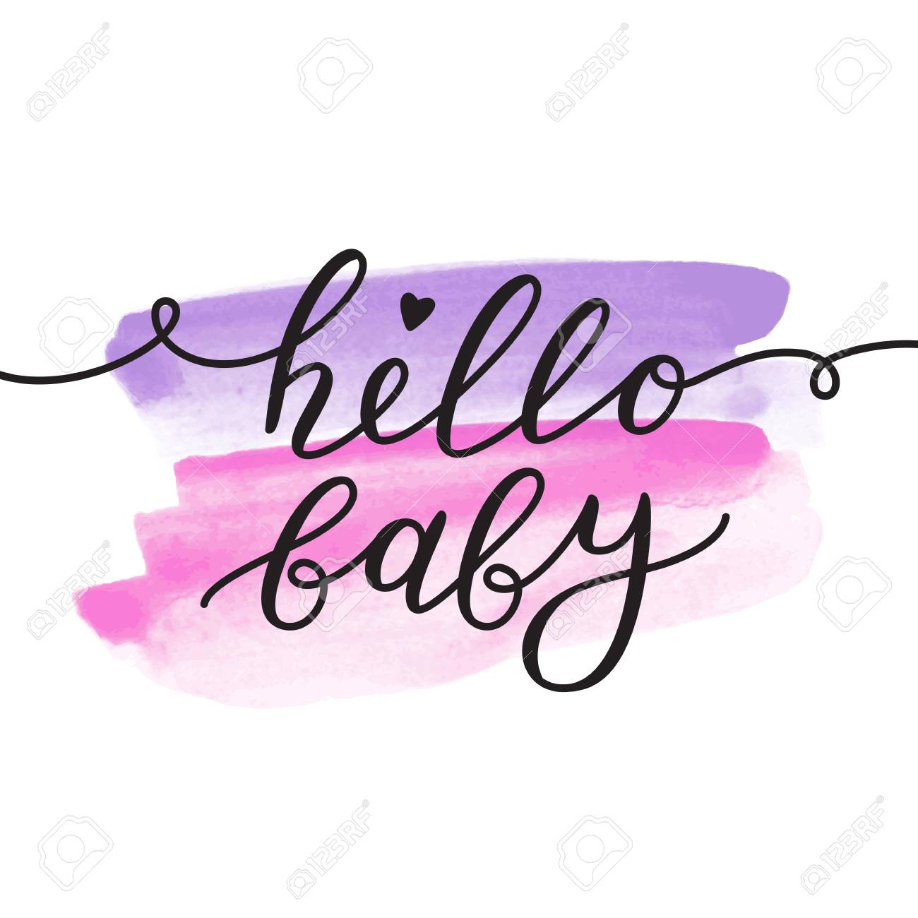 Hello Baby, Vector Lettering, Baby Shower Card Template Stock Vector    88774422