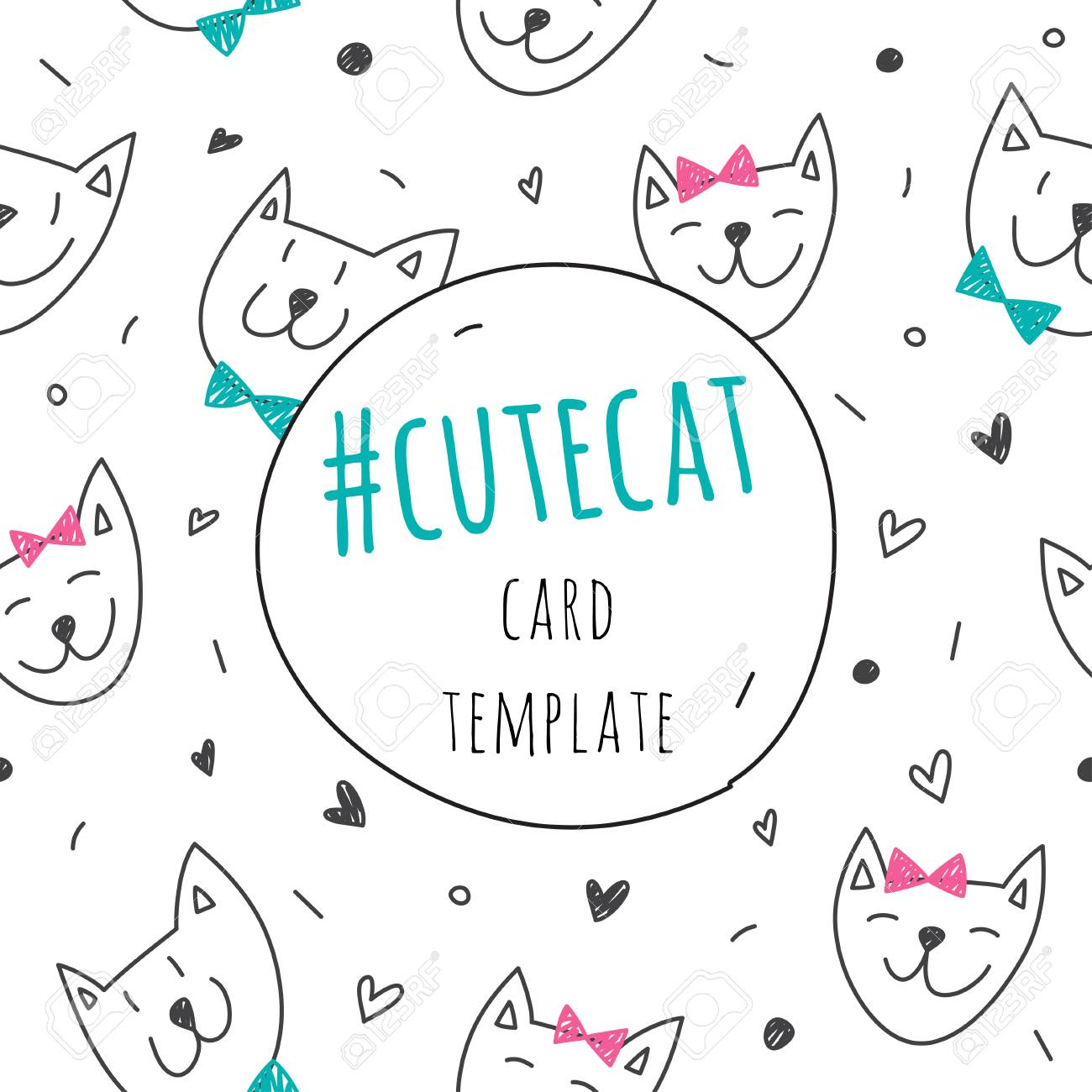 a smile cute cat faces vector card template isolated in plain