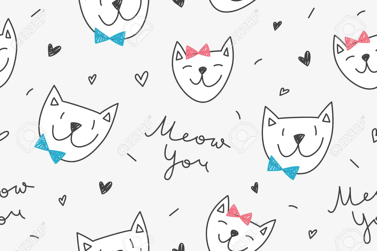Cats In Love Vector Seamless Pattern With Cartoon Cat Faces