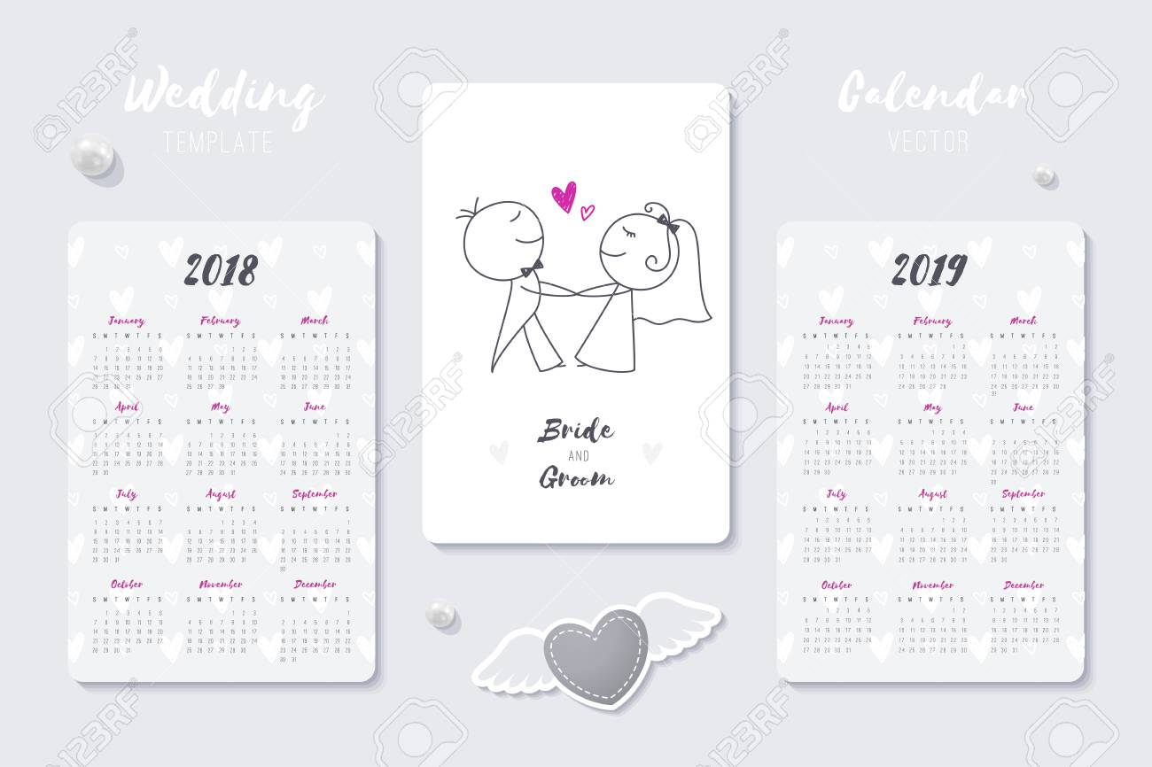 a wedding vector calendar template with happy bride and groom hand drawn couple 2018 and