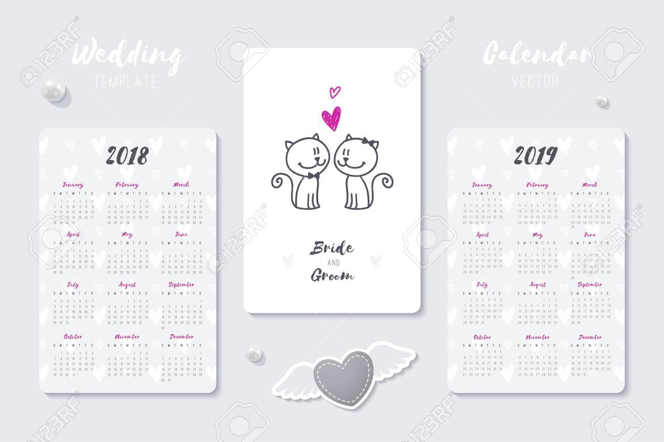 Wedding Vector Calendar Template With Happy Bride And Groom Hand