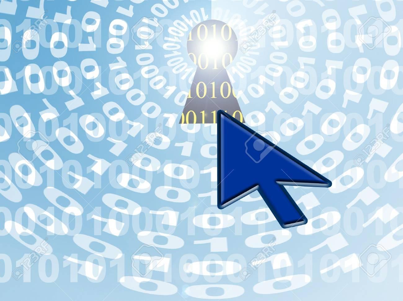 Internet Security-Graphic  binary data, keyhole,cursor Stock Photo - 3456512