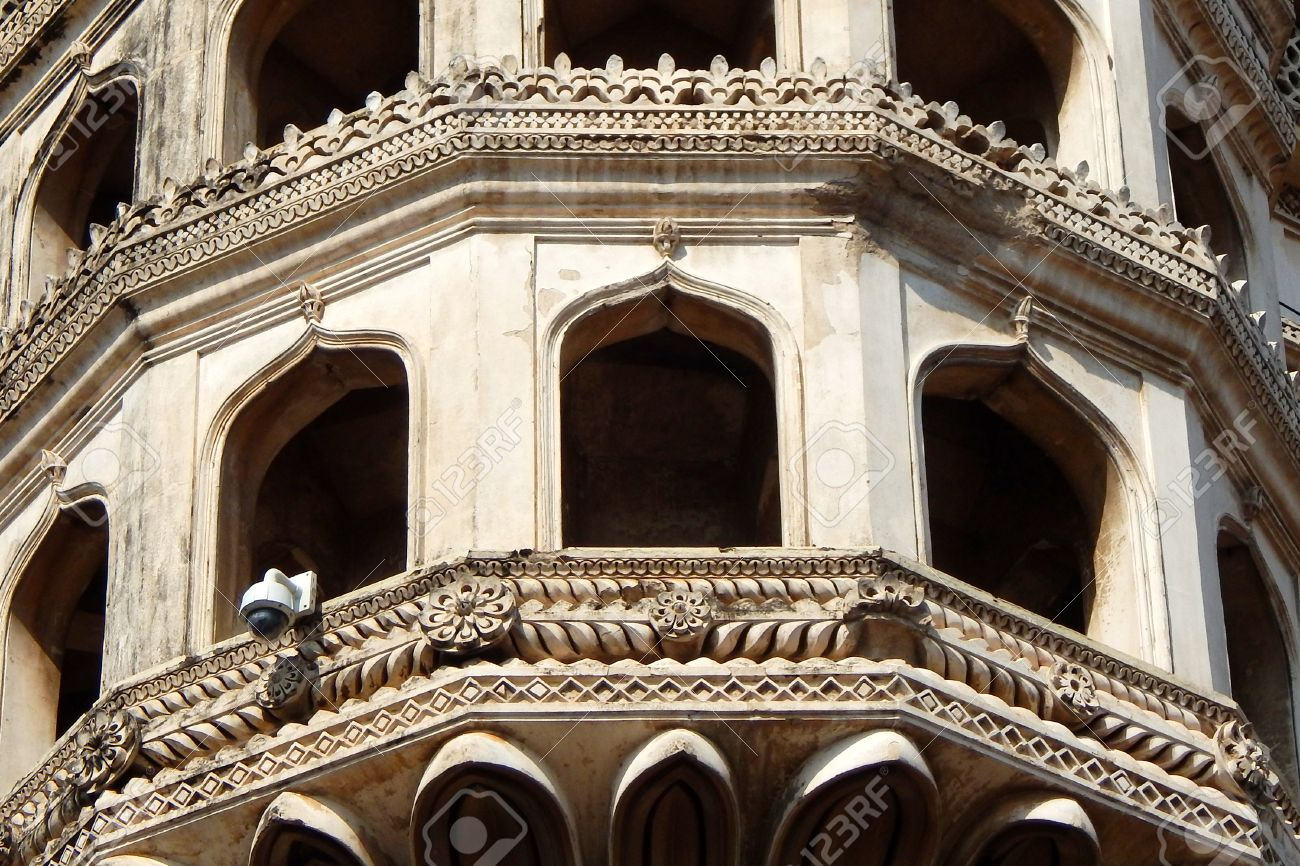 architectural details of 400 year old Charminar,Hyderabad,india