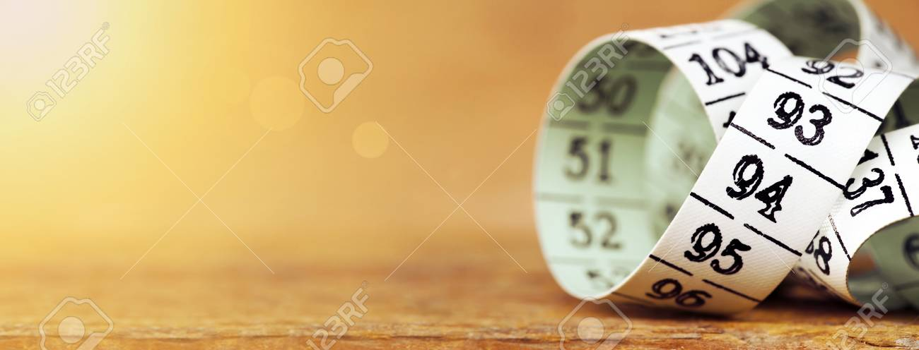 Weight Loss Diet Concept Web Banner Of A Measuring Tape With
