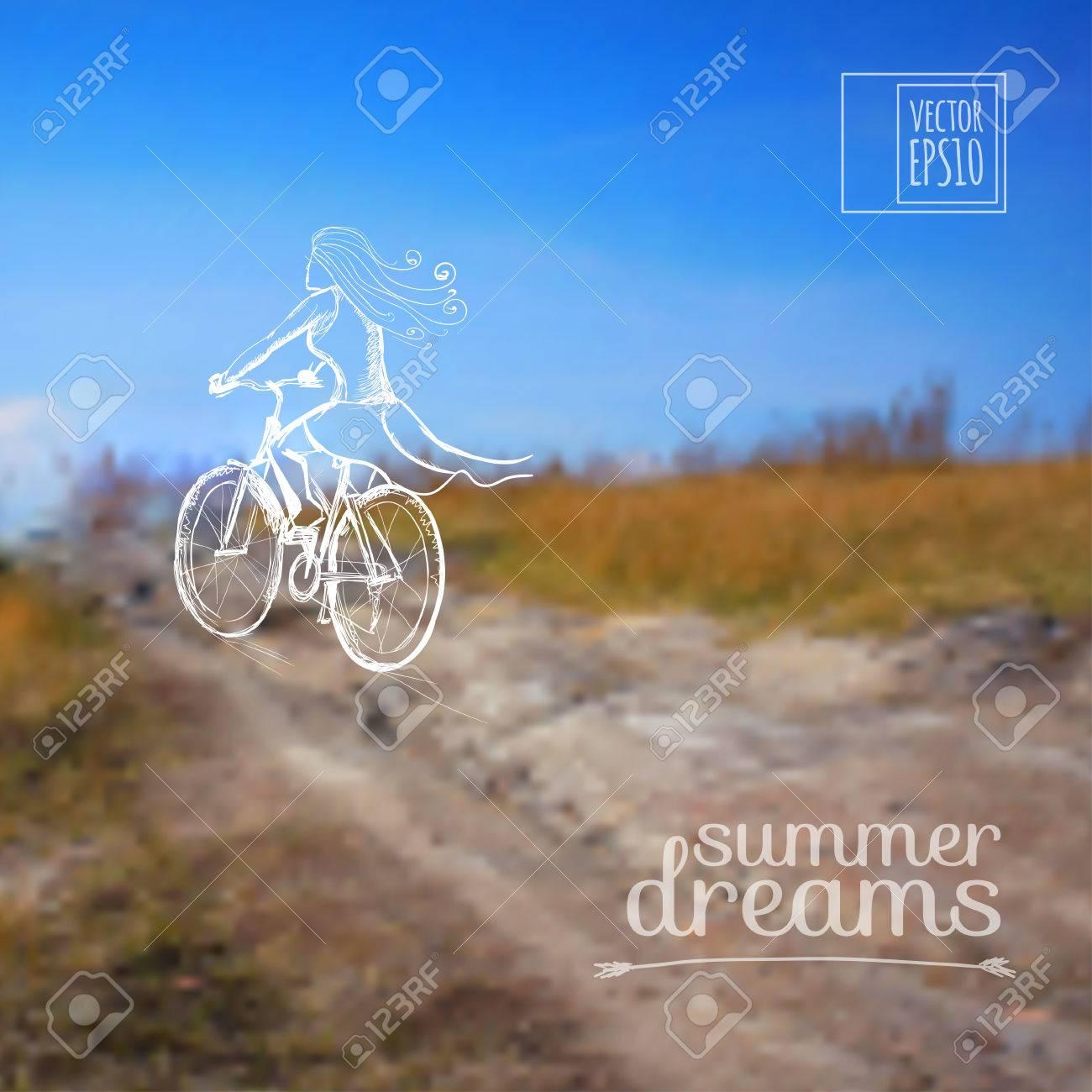 Abbildung Skizze Im Sommerurlaub Auf Dem Hintergrundbilder Mädchen