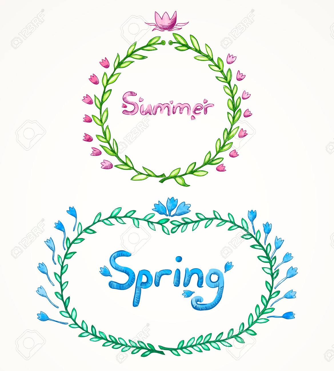 Vector Illustration. Set Of Two Watercolor Frames Frame From ...