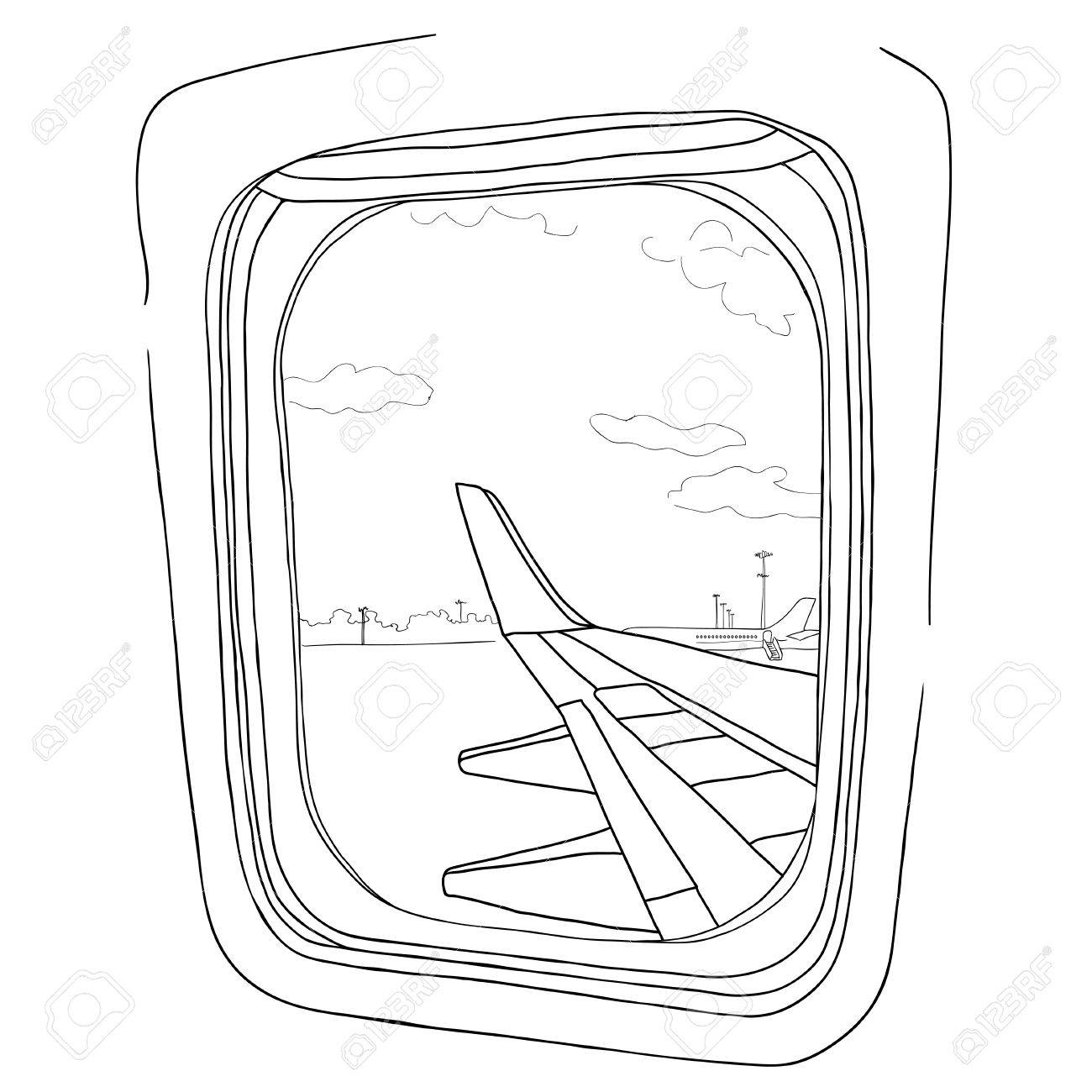 Illustration sketch view from the airplane window on a white sketch view from the airplane window on a white background stock vector thecheapjerseys Gallery