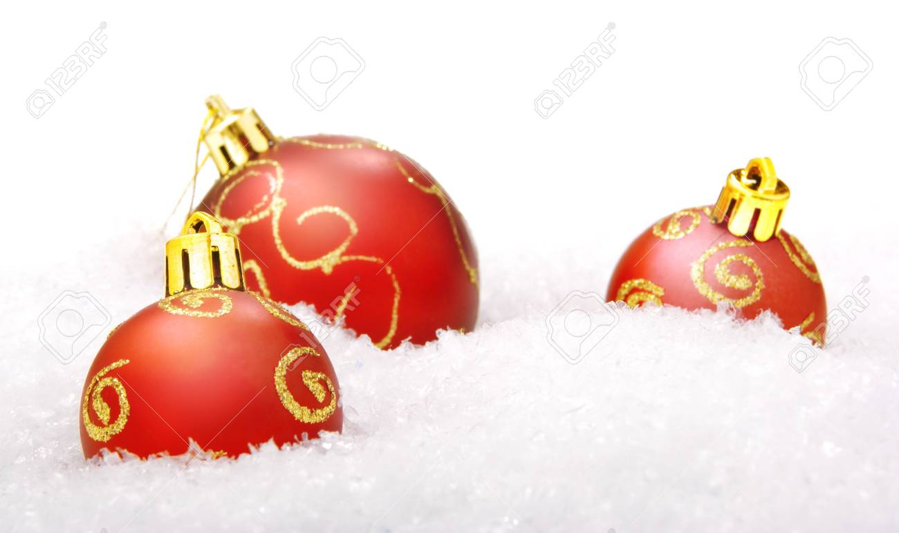 christmas balls with snow, isolated on white background Stock Photo - 5389000