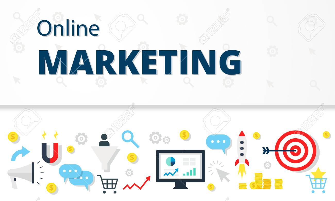 Internet Marketing Online Promotion Traffic Concept In Flat Style.. Royalty  Free Cliparts, Vectors, And Stock Illustration. Image 60909201.