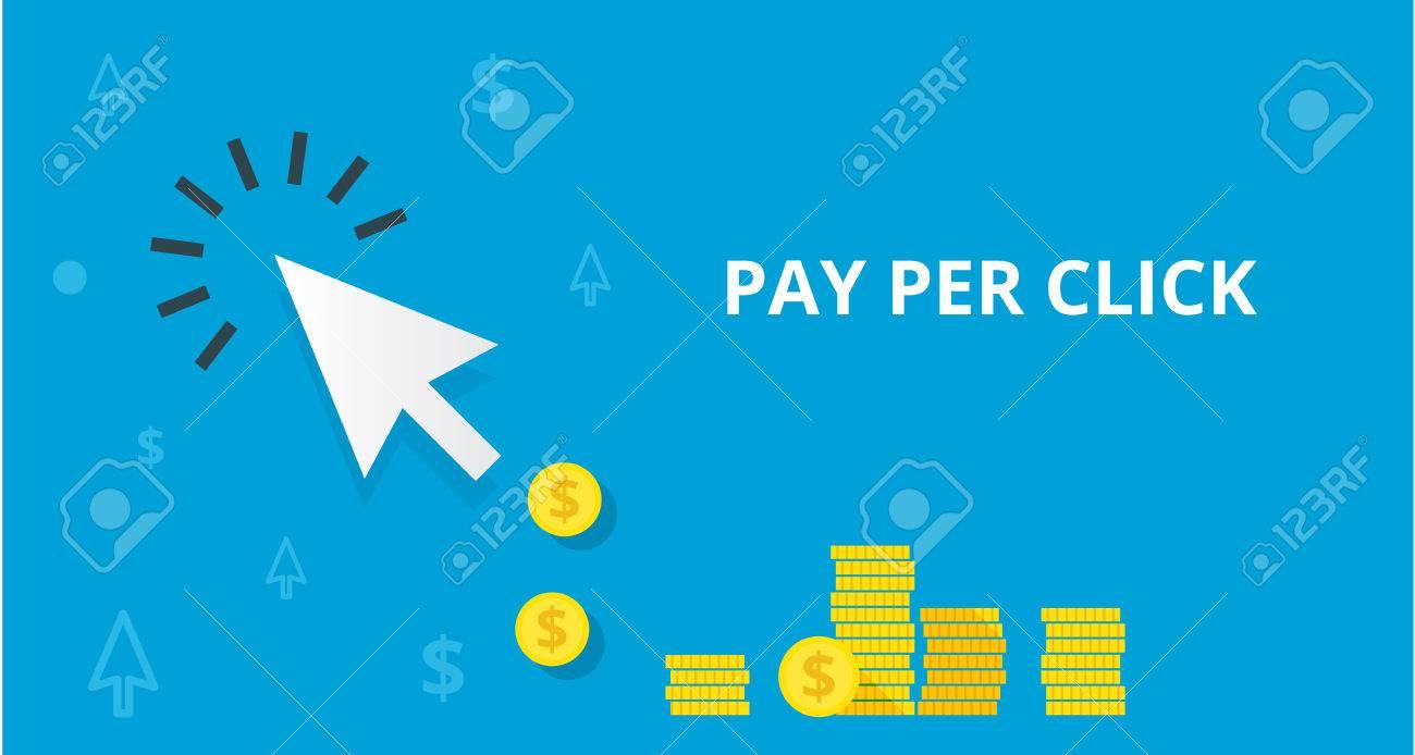 PPC pay per click flat online internet marketing concept web